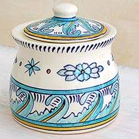 Ceramic jar, 'Bermuda' (small) - Artisan Crafted Ceramic Floral Jar with Lid (Small)