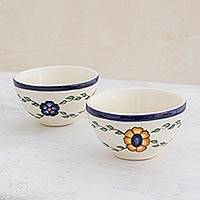 Small ceramic bowls, 'Margarita' (pair) - Hand Crafted Floral Ceramic Bowls from Guatemala (Pair)