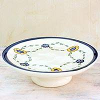 Ceramic cake stand, 'Margarita' - Artisan Crafted White Ceramic Cake Stand with Floral Motif