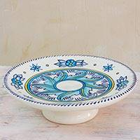 Ceramic cake stand, 'Bermuda' - Artisan Crafted Floral Ceramic Cake Stand with Leaf Motif
