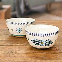 Ceramic bowls, 'Bermuda Star' (pair) - Artisan Crafted Ceramic Bowls with Floral Motif (Pair)
