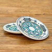 Ceramic plates, 'Bermuda' (pair) - Hand Crafted Floral Ceramic Plates in Blue and White (Pair)
