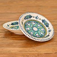 Ceramic soup bowls, 'Quehueche' (pair) - Handcrafted Floral Ceramic Turquoise Soup Bowls (Pair)