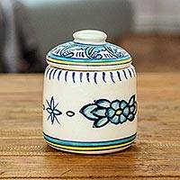 Ceramic jar, 'Quehueche' - Artisan Crafted Jar and Lid in Turquoise Ceramic