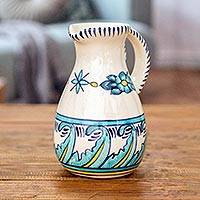 Ceramic pitcher, 'Quehueche' - Artisan Crafted Turquoise Ceramic 21-Ounce Pitcher