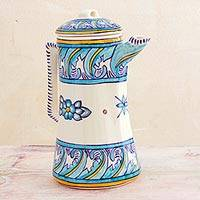 Ceramic coffee pot, 'Bermuda' - Artisan Crafted Ceramic Coffee Pot with Floral Motif
