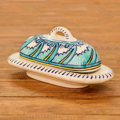 Ceramic butter dish, 'Quehueche' - Covered Ceramic Butter Dish Crafted of Ceramic