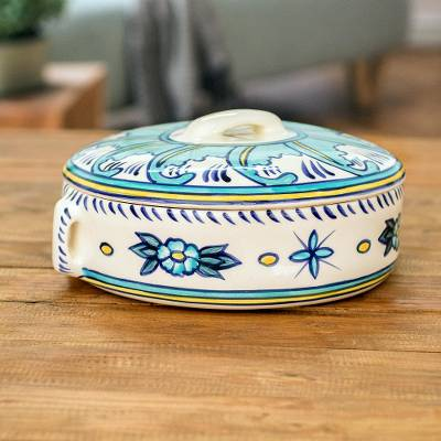 Ceramic round covered casserole, 'Quehueche' - Ceramic Handcrafted Oven-Safe Oval Casserole Dish and Lid