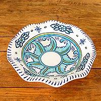 Ceramic fruit bowl, 'Quehueche' - Guatemalan Handcrafted 11-Inch Floral Ceramic Fruit Bowl