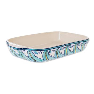 Ceramic baking dish, 'Quehueche' (13x7) - Rectangular 13 Inch Handcrafted Ceramic Baking Dish