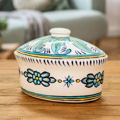 Ceramic Oval Covered Cerole Quehueche Handcrafted Oven Safe