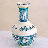 Ceramic vase, 'Quehueche' - 13 Inch Handcrafted Turquoise and White Ceramic Vase