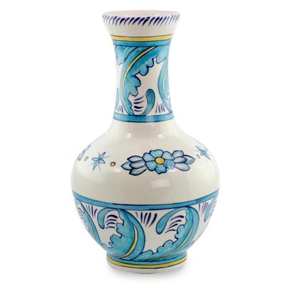 Ceramic vase, 'Quehueche' - 13 Inch Handcrafted Turquoise and White Ceramic Vase