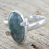 Jade cocktail ring, 'Green Freedom Road' - Handcrafted Contemporary Silver Ring with Light Green Jade