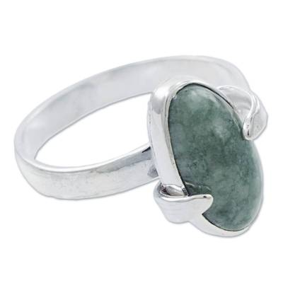 Handcrafted Contemporary Silver Ring with Light Green Jade