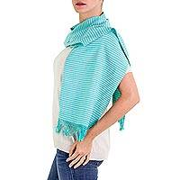 Cotton scarf, 'Aquamarine' - Artisan Crafted Turquoise Blue and Ivory 100% Cotton Scarf
