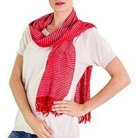 Cotton scarf, 'Brilliance' - Artisan Crafted 100% Cotton Striped Scarf with Fringe