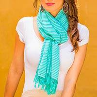 Cotton shawl, 'Aquamarine' - Artisan Crafted Turquoise Blue and Ivory 100% Cotton Shawl