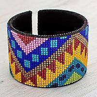Beaded leather cuff bracelet, 'Bright Chichicastenango' - Bright Beaded Leather Cuff Bracelet from Guatemala