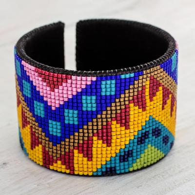 Bright Beaded Leather Cuff Bracelet From Guatemala Chichicastenango