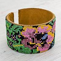 Beaded leather cuff bracelet, 'Pink Maya Peonies' - Handcrafted Floral Beaded Leather Cuff Bracelet