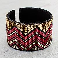 Beaded leather cuff bracelet, 'Chic Chichicastenango' - Red and Caramel Beaded Zigzag Cuff Bracelet with Black