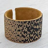 Beaded leather cuff bracelet, 'Gala Night' - Contemporary Beaded Cuff Bracelet in Black and Golden Brass