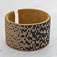 Beaded leather cuff bracelet,