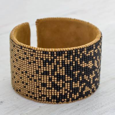 4fcce68774ad Contemporary Beaded Cuff Bracelet in Black and Golden Brass - Gala ...
