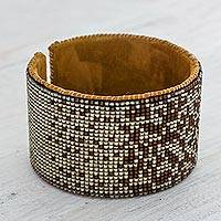 Beaded leather cuff bracelet, 'Romantic Starlight' - Contemporary Beaded Cuff Bracelet in Beige and Chestnut