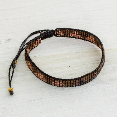 Beaded wristband bracelet, 'Rejoice in the Earth' - Brown and Black Beaded Wristband Bracelet from Guatemala