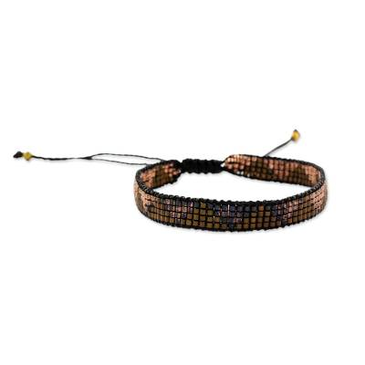 Brown and Black Beaded Wristband Bracelet from Guatemala