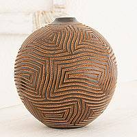 Terracotta decorative vase, 'Concentric Maze' - Nicaragua Artisan Crafted Terracotta Decorative Ceramic Vase