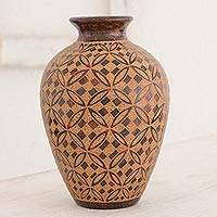 Terracotta decorative vase, 'Floral Happiness' - Geometric Flowers Artisan Crafted Terracotta Decorative Vase