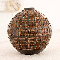 Terracotta decorative vase, 'Concave Order' - Black Terracotta Decorative Vase with Brown Etched Windows