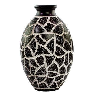 Artisan Crafted Brown And White Decorative Terracotta Vase Visual