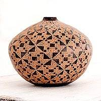 Terracotta decorative vase, 'Pinwheel Order' - Pinwheels on Hand Crafted Terracotta Decorative Vase