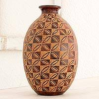 Terracotta decorative vase, 'Geometric Garden' - Geometric Flowers Etched on Decorative Terracotta Vase