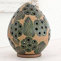 Terracotta tealight holder, 'Prairie Blooms' - Green Flowers on Artisan Crafted Terracotta Tealight Holder