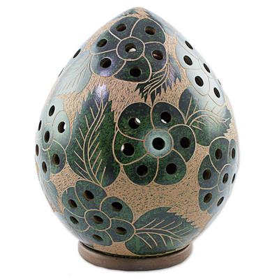 Green Flowers on Artisan Crafted Terracotta Tealight Holder
