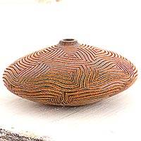 Terracotta decorative vase, 'Concentric Maze II' - Hypnotic Art on Burnished Red Terracotta Decorative Vase