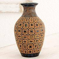 Terracotta decorative vase, 'Round Floral Illusions' - Artisan Crafted Brown and White Decorative Terracotta Vase