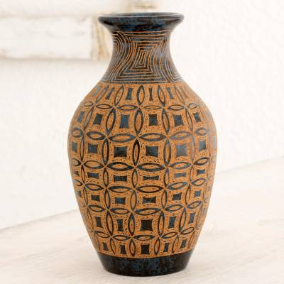 Terracotta Decorative Vase Round Fl Illusions Crafted Brown And White