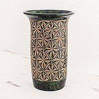 Terracotta decorative vase, 'Blossoming Patterns' - Green Geometric Flowers Etched on Decorative Terracotta Vase