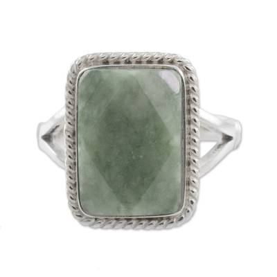 Guatemala Handcrafted Sterling Silver and Faceted Jade Ring