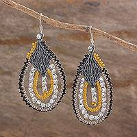 Beaded dangle earrings, 'Glamorous Temptation' - Artisan Crafted Beaded Dangle Earrings from Guatemala