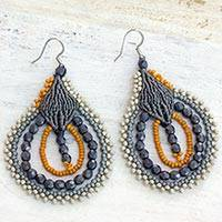 Beaded dangle earrings, 'Inspiring Night' - Artisan Crafted Hook Earrings Guatemalan Beaded Jewelry