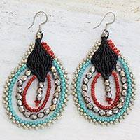 Beaded dangle earrings, 'Inspiring Feasts' - Artisan Crafted Guatemalan Beaded Earrings in Blue and Red