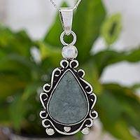 Jade pendant necklace, 'Apple Green Arabesques' - Silver 925 Pendant Necklace with Apple Green Maya Jade