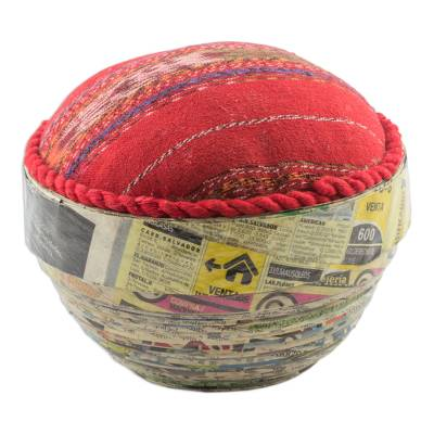 Cotton and Recycled Paper Decorative Bowl from Guatemala